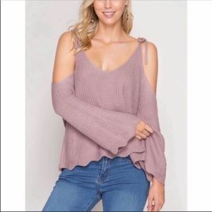 Cold Shoulder Bell Sleeved Sweater S M NWT